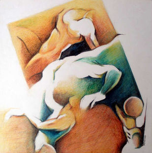 Untitled by BELE D.B., Expressionism Painting, Oil Pastel on Paper, Beige color