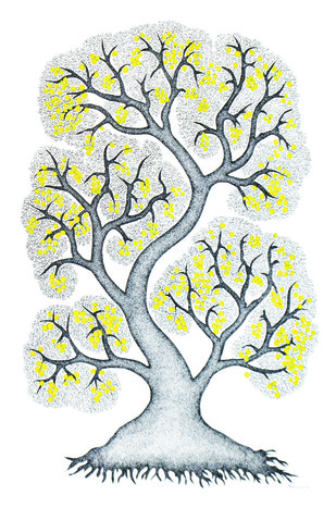 The Tree by Bhajju Shyam, Traditional Painting, Acrylic & Ink on Paper, Gray color