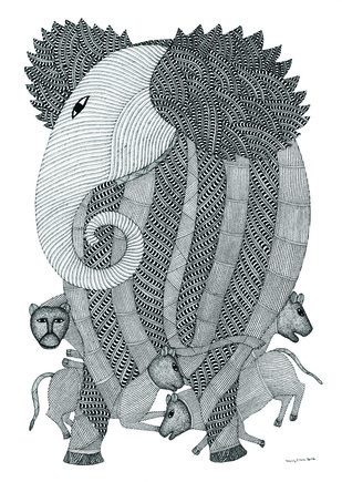 The Elephant and his Friends by Bhajju Shyam, Traditional Painting, Ink on Paper, Gray color