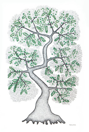 Enriched Tree by Bhajju Shyam, Traditional Painting, Acrylic & Ink on Paper, Gray color