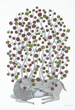 Deer Beneath the Tree by Bhajju Shyam, Traditional Painting, Acrylic & Ink on Paper, Gray color