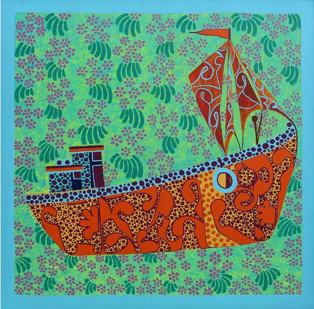 Creative Boat 1 by Barkha jain, Expressionism Painting, Mixed Media on Canvas, Green color
