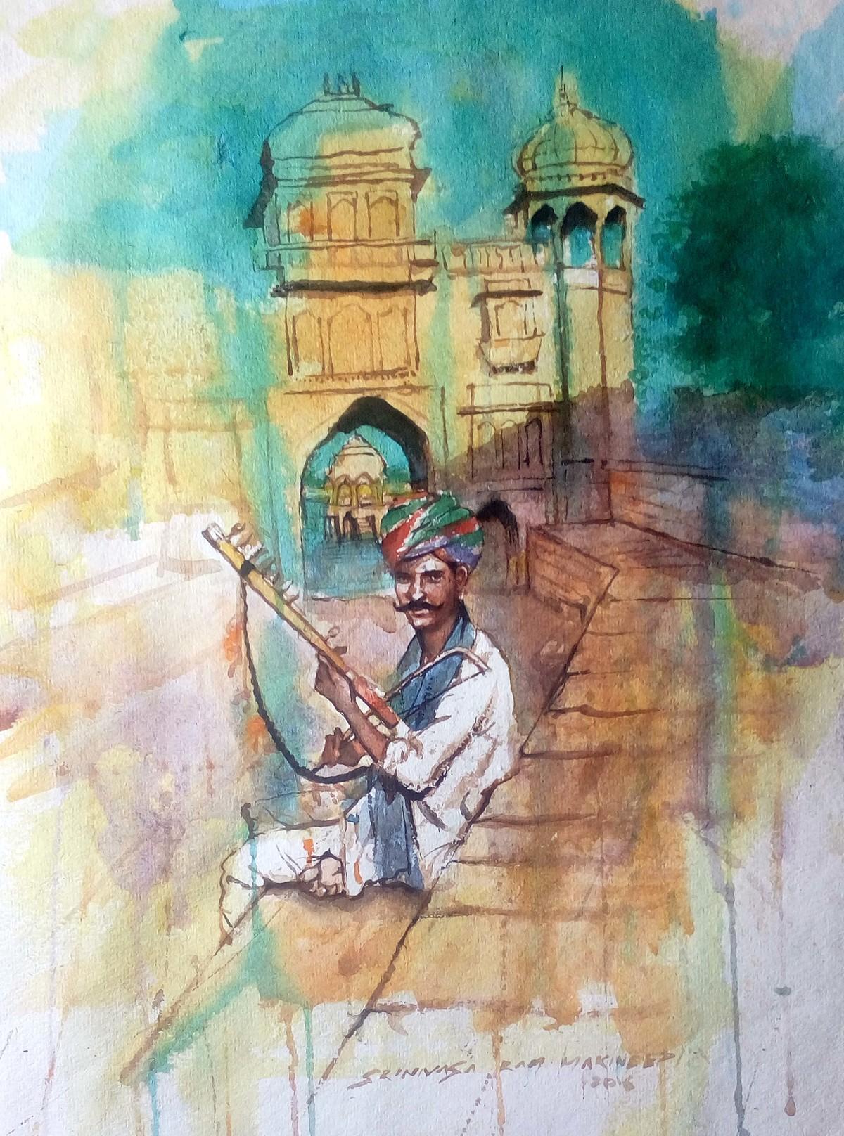 Desert Music by Sreenivasa Ram Makineedi, Impressionism, Impressionism Painting, Watercolor on Paper, Beige color
