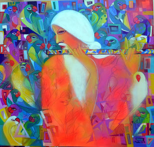 Music with in by Madan Lal, Expressionism Painting, Acrylic on Canvas, Blue color