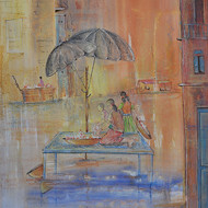 Chandana kankaria untitled v 25x19 watercolour   oil pastel on paper 2015 30000