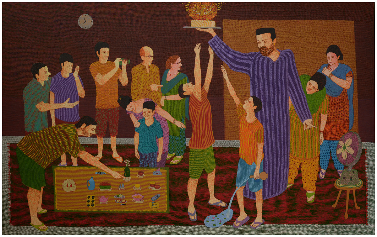 Celebrating togetherness by pranav sood, Expressionism Painting, Oil on Canvas, Brown color