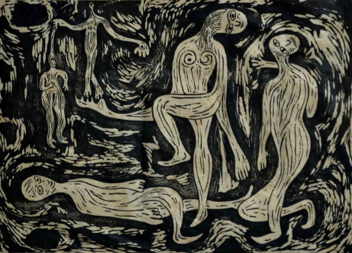 Mood - C by S K Sahni, Surrealism Printmaking, Linocut Print on Paper, Gray color
