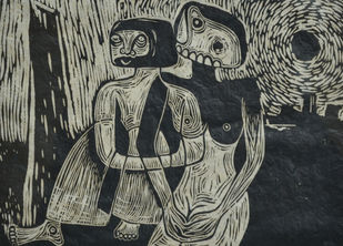Mood - L by S K Sahni, Expressionism Printmaking, Linocut Print on Paper, Gray color