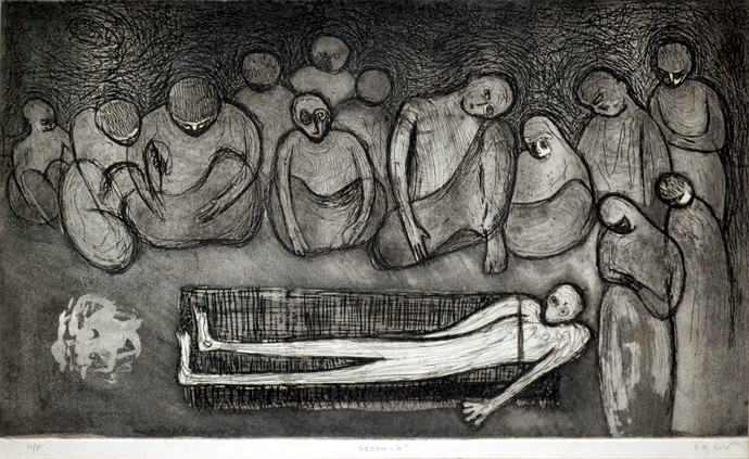 Death - A by S K Sahni, Expressionism Printmaking, Etching and Aquatint, Gray color