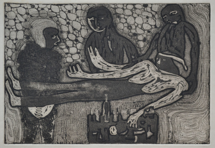 On Death Bed by S K Sahni, Expressionism Printmaking, Etching and Aquatint, Gray color
