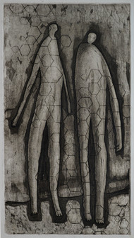 A Meeting by S K Sahni, Expressionism, Expressionism Printmaking, Etching and Aquatint, Gray color