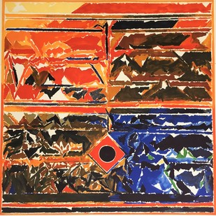 Untitled by S H Raza, Abstract, Abstract Printmaking, Lithography on Paper, Brown color
