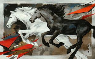 HORSE SERIES-105 by Devidas Dharmadhikari, Impressionism Painting, Acrylic on Canvas, Gray color