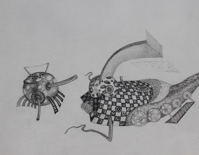 Untitled by Ajay Dhandre, Surrealism Drawing, Pencil on Paper, Gray color