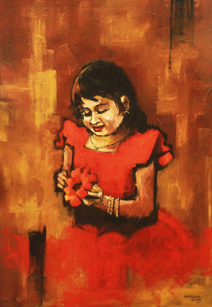 Girl with Flower by Mopasang Valath, Expressionism Painting, Acrylic on Tarpaulin, Brown color