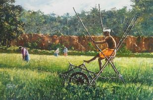 farmer by Sunil Linus De, Impressionism Painting, Acrylic on Canvas, Green color