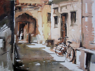 kolkata-6 by A Kundu, Impressionism Painting, Watercolor on Paper, Brown color