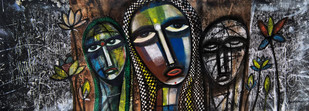 family by Arun K Mishra, Traditional Painting, Acrylic & Ink on Canvas, Gray color