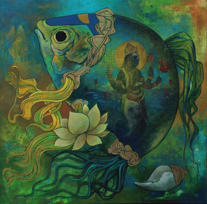 Mathya Avatara Digital Print by Rajeshwar Nyalapalli,Traditional