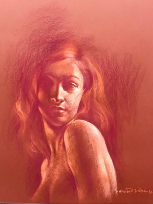 Her Smouldering Beauty III by Sanatan Dinda, Expressionism, Expressionism Drawing, Conte on Paper, Red color