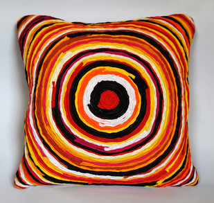Katran Cushion : Chakri Pattern : Orange Multicolor Cushion Cover By Sahil & Sarthak