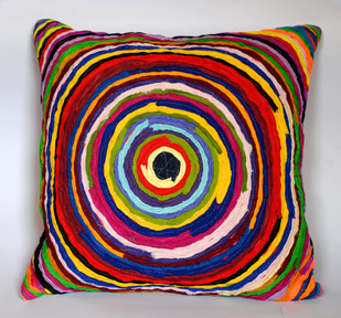 Katran Cushion : Chakri Pattern : Multicolor Cushion Cover By Sahil & Sarthak