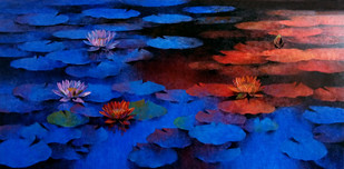 Waterlilies - 83 by Swati Kale, Expressionism Painting, Oil on Canvas, Blue color