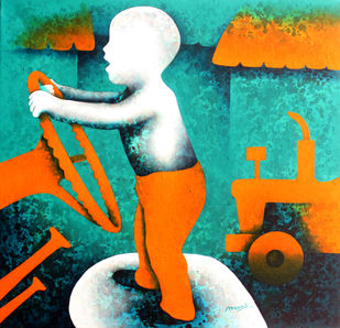 athkheliya by Lakhan Singh Jat, Expressionism Painting, Acrylic on Canvas, Cyan color