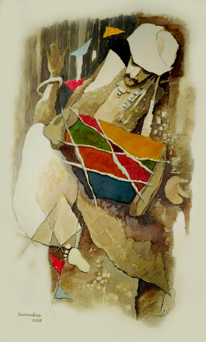 drummer by Surendra Pal Singh, Impressionism Painting, Watercolor on Paper, Beige color