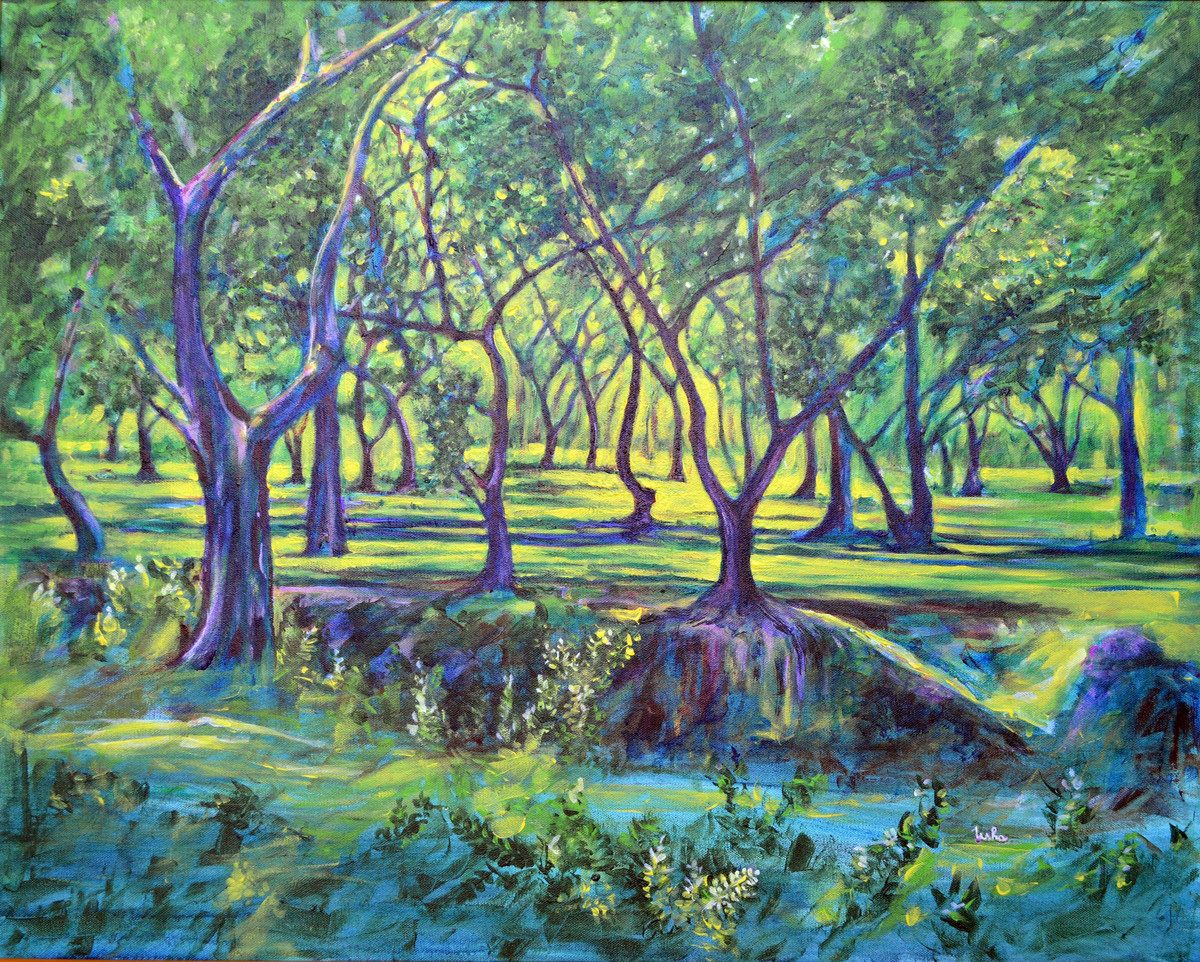 Shadows At Noon by Usha Shantharam, Impressionism Painting, Acrylic on Canvas, Green color