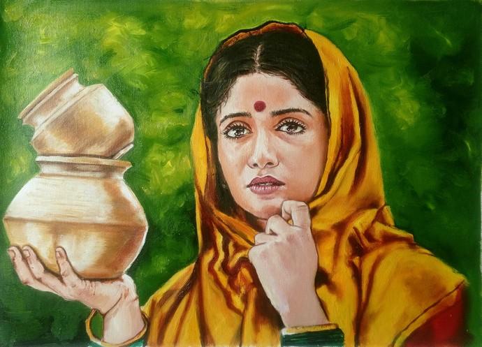 MilkMaid Digital Print by Sreenivasa Ram Makineedi,Realism