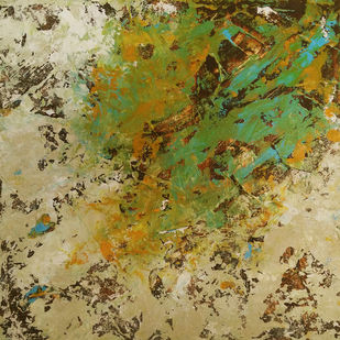Untitled by Saravana Kumar, Abstract Painting, Acrylic on Canvas, Beige color