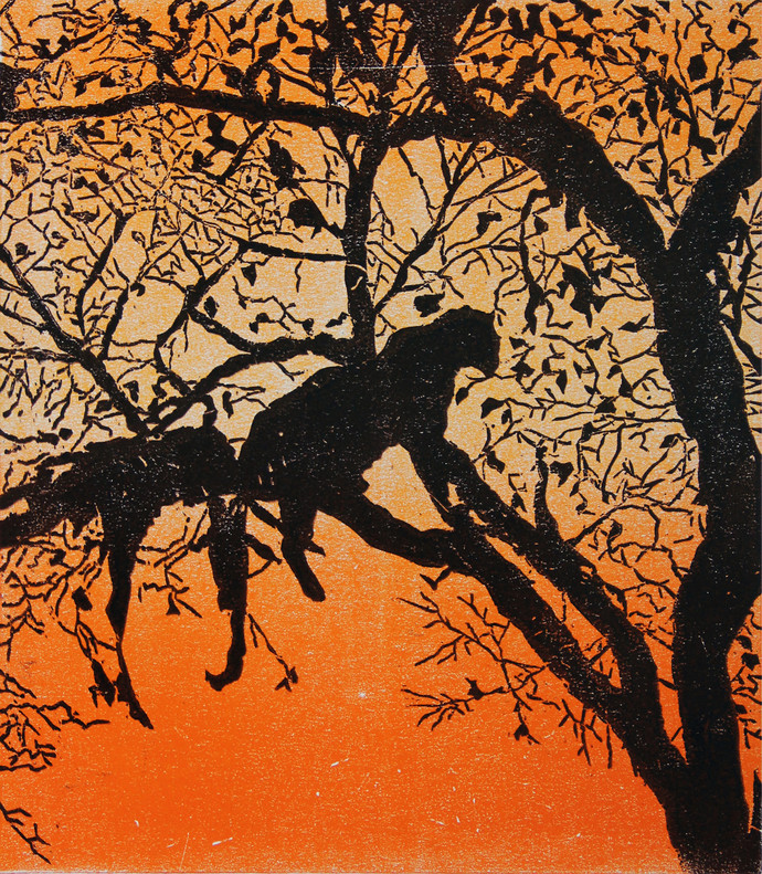 WAITING FOR DARK by Tapan Madkikar, Impressionism Printmaking, Sunboard cut print on Paper, Brown color