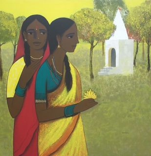 Puja II by Nagesh Ghodke, Expressionism Painting, Acrylic on Canvas, Beige color