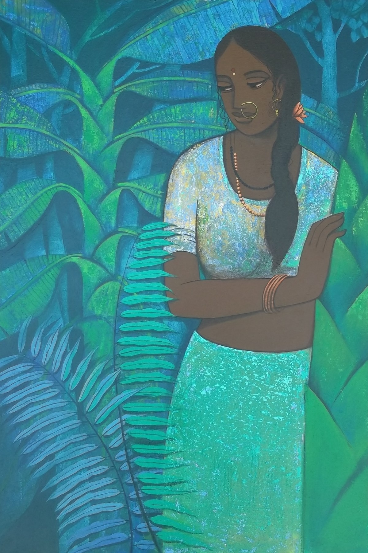 Waiting for Friend by Nagesh Ghodke, Expressionism Painting, Acrylic on Canvas, Cyan color