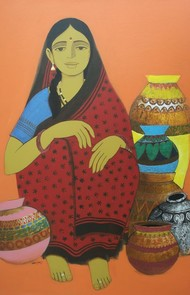 Pot Seller by Nagesh Ghodke, Decorative Painting, Acrylic on Canvas, Brown color