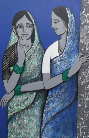 sakhi (friends) III by Nagesh Ghodke, Expressionism Painting, Acrylic on Canvas, Blue color
