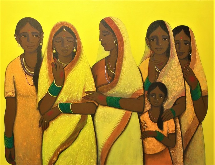 Bride by Nagesh Ghodke, Expressionism Painting, Acrylic on Canvas, Brown color