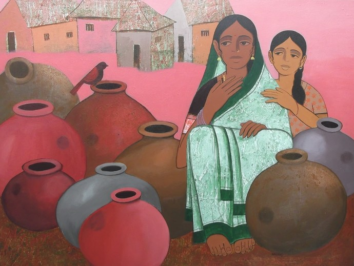 Pot Seller II by Nagesh Ghodke, Expressionism Painting, Acrylic on Canvas, Brown color