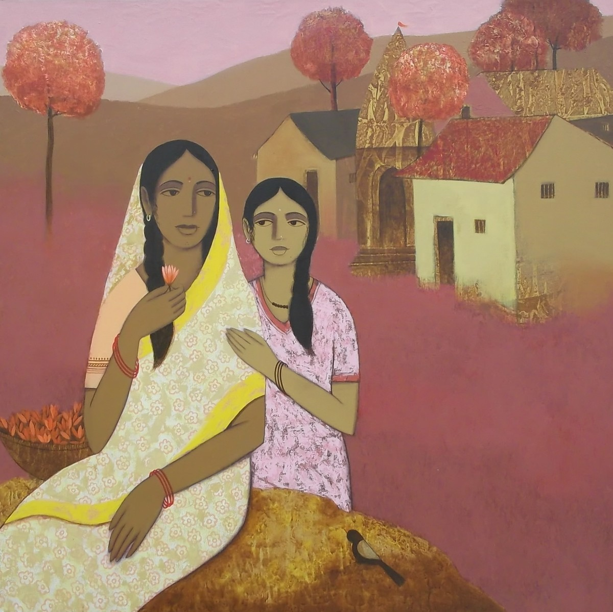 Mother and Daughter V by Nagesh Ghodke, Expressionism Painting, Acrylic on Canvas, Brown color
