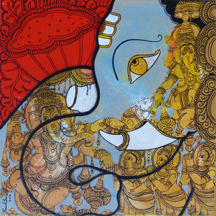 Lord Ganesh by Ramesh Gorjala, Traditional Painting, Acrylic on Canvas, Brown color