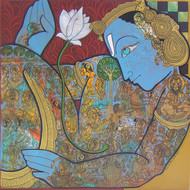 Lord Vishnu by Ramesh Gorjala, Traditional Painting, Acrylic on Canvas, Brown color
