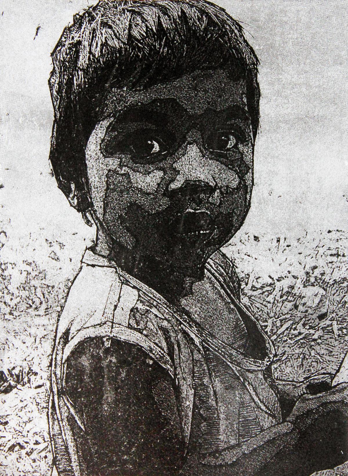 I AM SHAMBHU by Tapan Madkikar, Expressionism Printmaking, Etching on Paper, Gray color