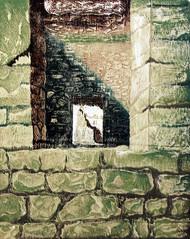 GREEN WINDOW by Tapan Madkikar, Impressionism Printmaking, Wood Cut on Paper, Beige color