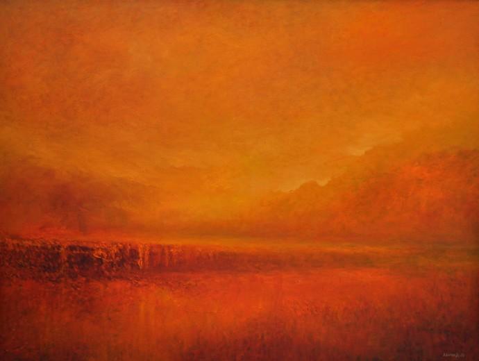 Dawn by Zargar Zahoor, Impressionism Painting, Oil on Canvas, Orange color