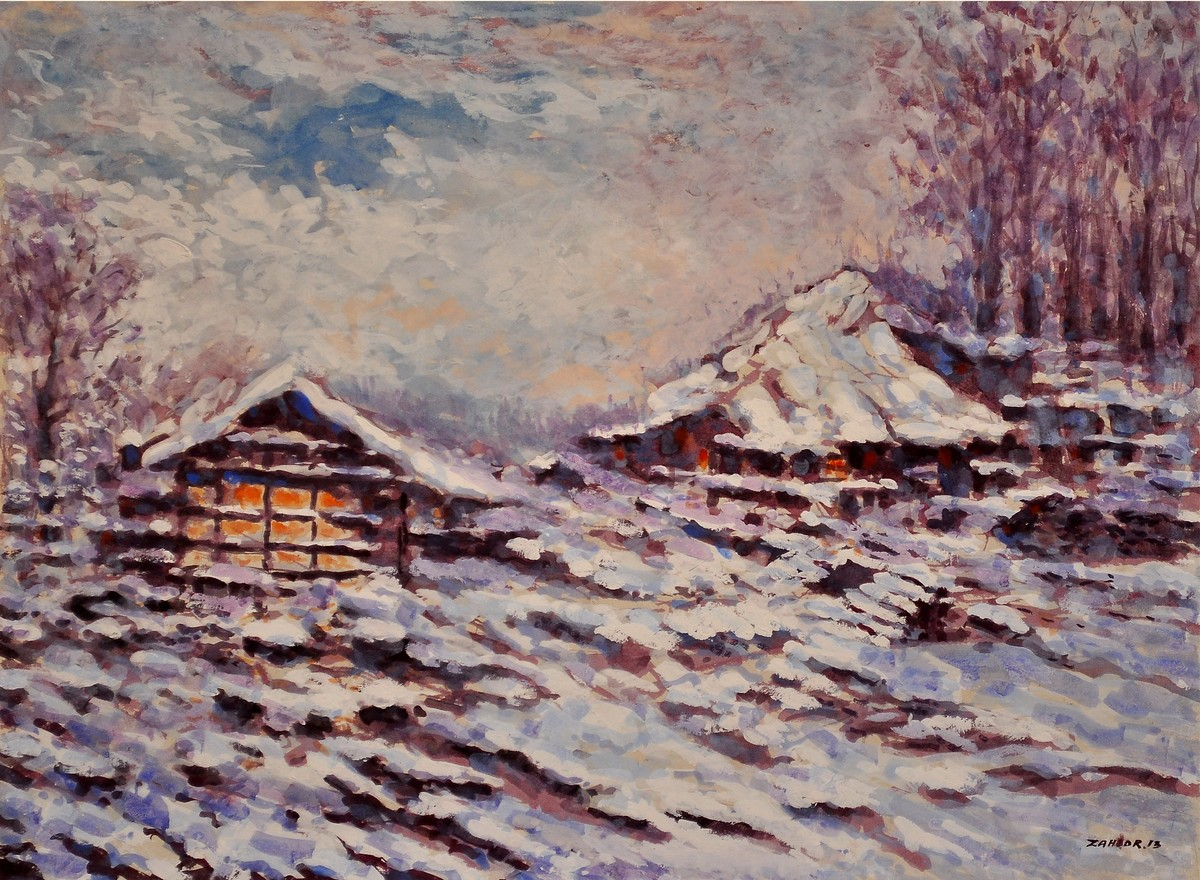 SNOWY EVENING by Zargar Zahoor, Impressionism Painting, Gouache on Paper, Brown color
