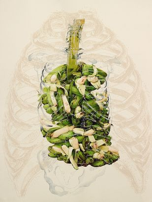 Body/Offering by V Ramesh, Conceptual Painting, Watercolor on Paper, Beige color