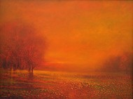 UNTITLED 3 by Zargar Zahoor, Impressionism Painting, Oil on Canvas, Orange color