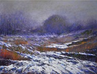 First Snow by Zargar Zahoor, Impressionism Painting, Acrylic on Canvas, Brown color