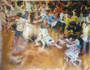 Jallikattu by Sreenivasa Ram Makineedi, Realism Painting, Oil on Canvas, Brown color